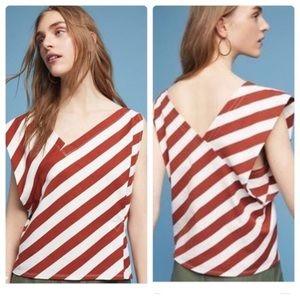 NWT Postmark Anthropologie Asymmetrical Stripe Top